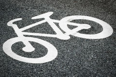 Asphalt with bicycle sign Stock Image