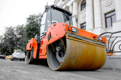 Asphalt compactor from below wide angle view Stock Photo