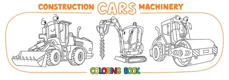 Funny constuction cars with eyes Coloring book set vector illustration