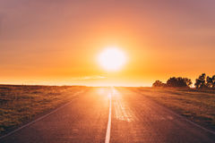Asphalt Country Open Road In Sunny Morning Or Evening. Open Road Royalty Free Stock Image