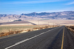 Asphalt Country Road Winding Through-de Winterlandschap stock foto