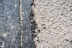 Asphalt with cracked bitumen. On top stock photos