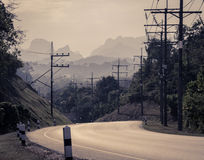Asphalt curve road in instagram color style Stock Photo