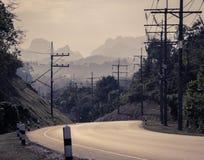 Asphalt curve road in instagram color style Stock Photo