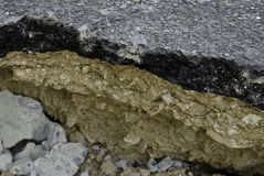 Asphalt damage with cracks at street Royalty Free Stock Photos