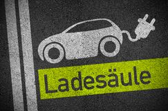 Asphalt with E Car E Mobility. With the german word for charging station vector illustration