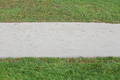 Asphalt Footpath e hierba verde en bilateral imagen de archivo