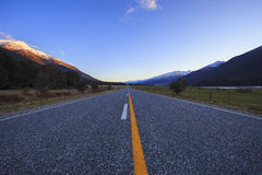 Asphalt highway in aspiring national park south island new zeala Stock Photography