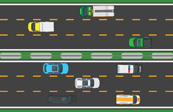 Asphalt Highway avec huit moyens de transport illustration libre de droits