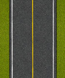 Asphalt highway road with grass top view royalty free stock images