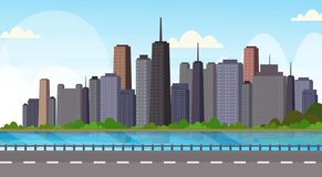 Asphalt highway road over beautiful river city panorama high skyscrapers cityscape background skyline flat horizontal vector illustration
