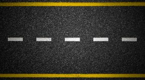 Road top view. Asphalt highway marks. Asphalt highway road top view Royalty Free Stock Photos