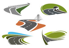 Asphalt highway and roads abstract icons Stock Images