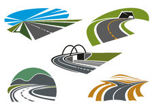 Asphalt highways and roads abstract icons. Forked road, mountain highways with tunnel and steep turn, road bridge and speed freeway with blue sky, for Royalty Free Stock Image