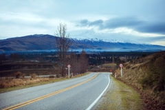Asphalt highways in south island new zealand use for traveling b Royalty Free Stock Photography