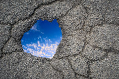 Asphalt hole and blue sky Stock Photography
