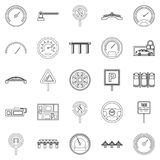 Asphalt icons set, outline style Royalty Free Stock Photo