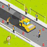 Asphalt Laying Isometric Composition Photographie stock libre de droits