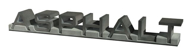 Asphalt. Letters of asphalt, asphalt in the form of words on a pedestal in the form of road curb Stock Photography