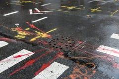 Asphalt in Manhattan, New York City Stockbild