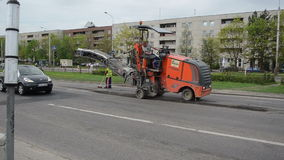 Asphalt mill machine Stock Photos