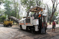 Asphalt milling Royalty Free Stock Photography