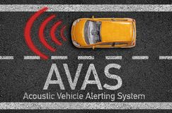 Asphalt with miniature car and AVAS Acoustic Vehicle Alerting System stock illustration