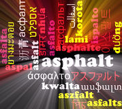 Asphalt multilanguage wordcloud background concept glowing Royalty Free Stock Photography