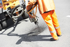 Asphalt patching roadworks Royalty Free Stock Photography
