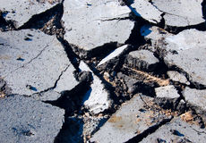 Asphalt pavement. Close-up of destroyed asphalt pavement Royalty Free Stock Photography