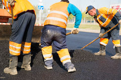 Asphalt pavement construction works Stock Photo
