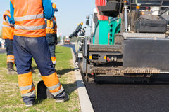 Asphalt pavement construction works Royalty Free Stock Photography