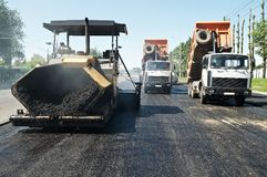 Asphalt pavement works Stock Photos