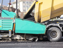 Asphalt paver machine Royalty Free Stock Photos