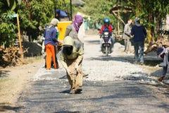 Asphalt paver repairing Stock Images