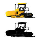 Asphalt paver, vector illustration. Isolated on white. Icon. Flat style. Silhouette Stock Photography
