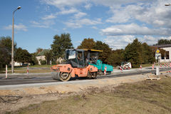 Asphalt paving construction site Royalty Free Stock Photos