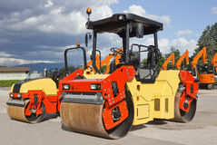 Asphalt Paving Machine. And Road Roller Stock Photography