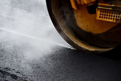 Asphalt Paving With Steel Roller Stock Photography
