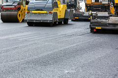 Asphalt paving works Royalty Free Stock Photos