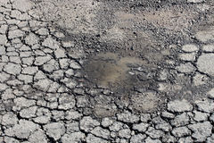 Asphalt pothole. Damaged old asphalt pothole and cracked asphalt Royalty Free Stock Photos