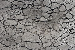 Asphalt pothole. Damaged old asphalt pothole and cracked asphalt Royalty Free Stock Photography