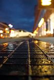 Asphalt after rain in the night city stock images