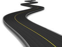 Asphalt road. 3d illustration of curved road over white background Stock Images