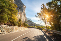 Asphalt road in autumn forest at sunrise. Crimean mountains Royalty Free Stock Photos