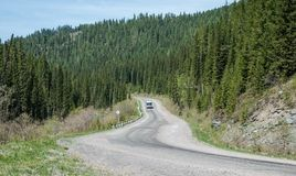 Asphalt road on the background of the Sayan mountains in the summer. Stock Images