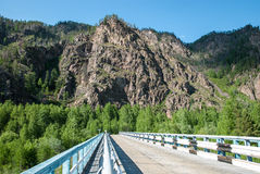 Asphalt road on the background of the Sayan mountains in the summer. Stock Photography