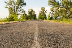 Asphalt road among the blurred tree line. Asphalt road among the tree line Stock Photography