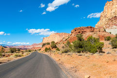 Asphalt road through the Capitol Reef national park, USA Royalty Free Stock Photography