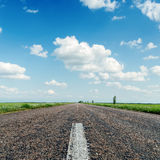 Asphalt road close up under clouds Royalty Free Stock Image
